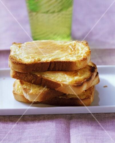 Welsh rarebit (cheese on toast with mustard)