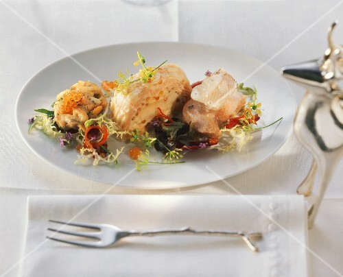 Salad of whitefish and salmon trout