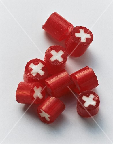 Red sweet with Swiss cross
