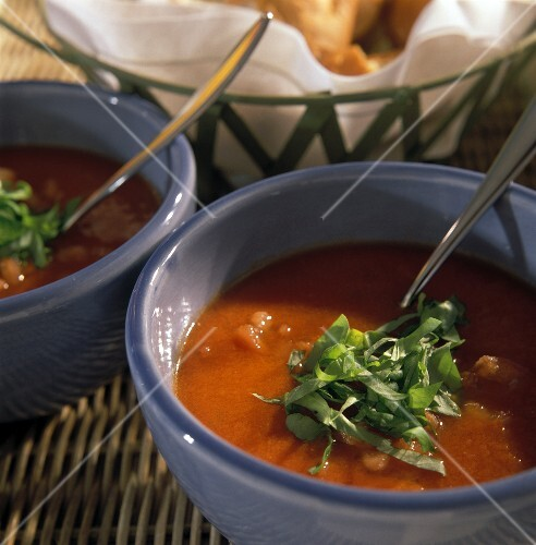 Tomato soup with chopped basil