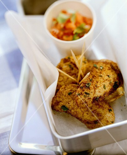 Fried turkey breast fillets with tomato salsa in lunchbox