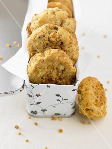 Peanut cookies in biscuit tin