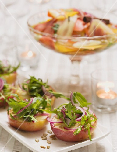 Baked apples with rocket & onion salad (Christmas, Sweden)