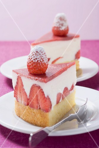Two pieces of strawberry yoghurt cake