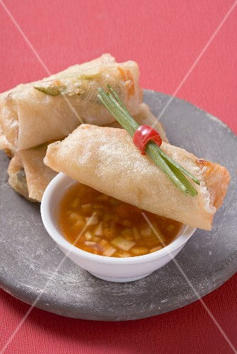 Spring rolls with dip (Asia)