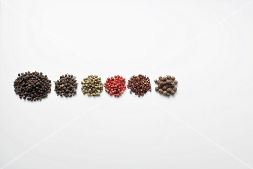 Various whole peppercorns