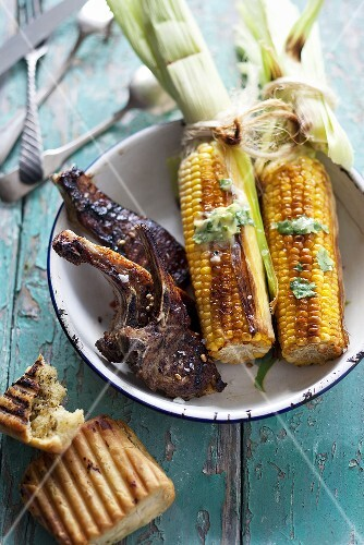 Grilled lamb chops and corn on the cob (South Africa)