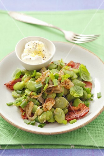 Broad bean salad with pancetta and shallots