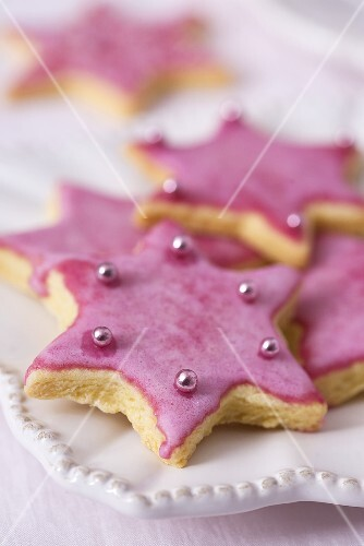 Star biscuits with dragees