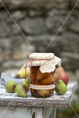 Bottled pears in jar