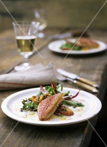 Fried red mullet on bread with lentils and salad