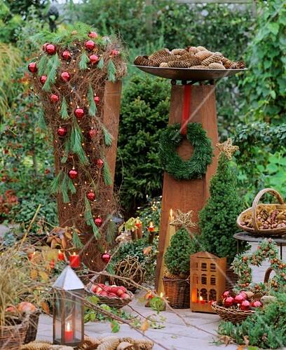 Christmas still life in garden