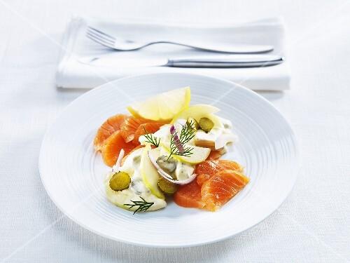 Smoked salmon, housewife style, for hangover breakfast