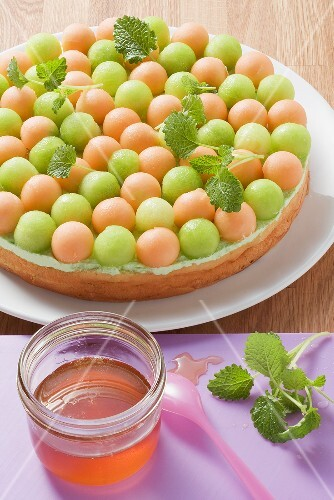 Melon flan with woodruff