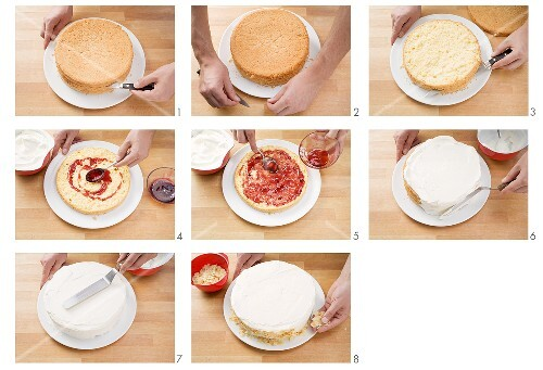 Filling and decorating a sponge cake