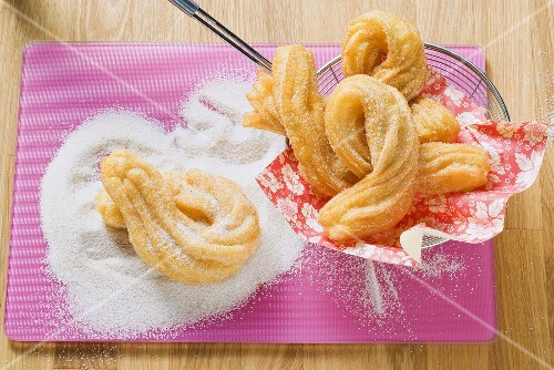 Churros (Spanish fried piped pastries) with cinnamon sugar