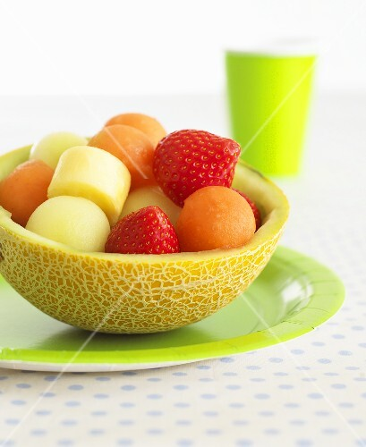 Fruit salad in hollowed-out melon