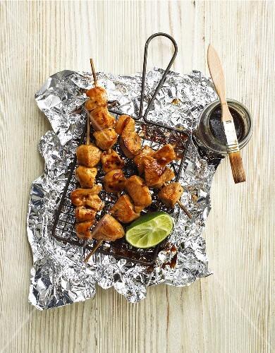 Honey-glazed chicken kebabs