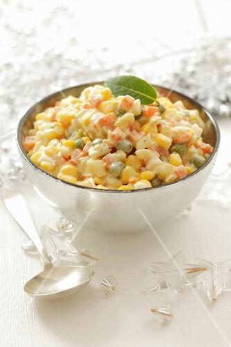 Vegetable salad with mayonnaise (Christmas)