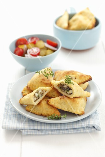 Mushroom and egg pasties with potato pastry, thyme