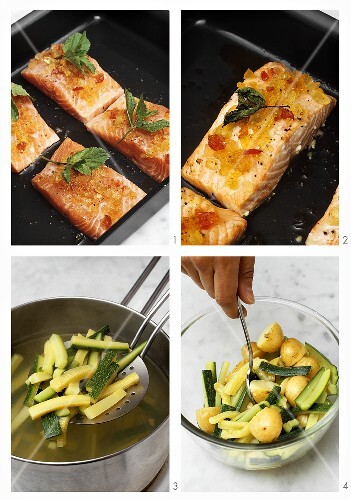 Preparing salmon with mustard fruit, potatoes & courgettes