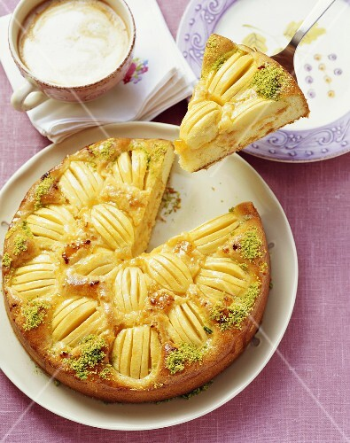 Apple cake with dried apricots