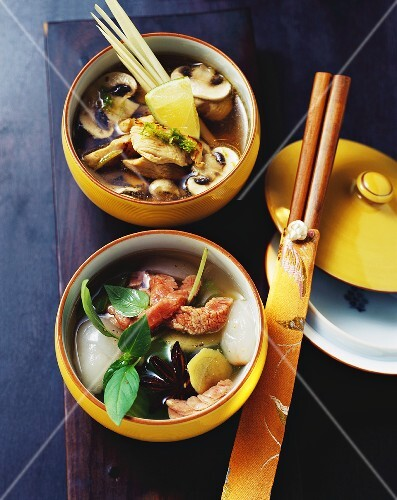 Chicken & lemon grass soup, ginger broth with beef & lychee