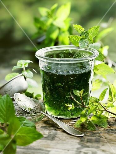Mint relish in a jar
