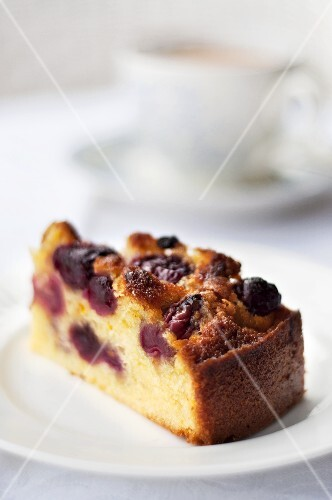 A piece of cherry cake