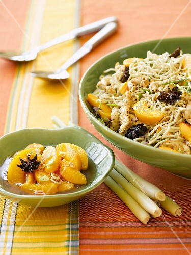 Spicy chicken noodle salad with peaches, lemon grass and star anise