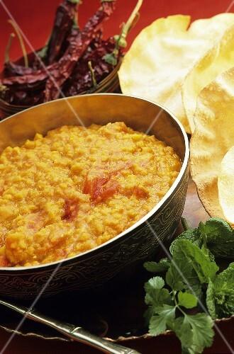 Dal (Indian lentil dish) with flatbread