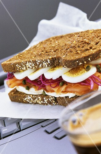 Smoked salmon and egg sandwich for the office