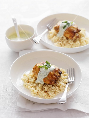 Chicken tikka with couscous and minted yoghurt sauce