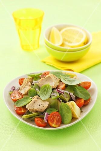 Potato, bean, tuna and tomato salad with basil