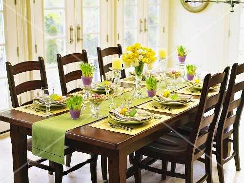 Table laid for Easter