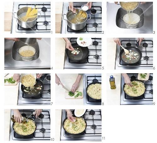 Spaghetti aglio, olio e peperoncino zubereiten