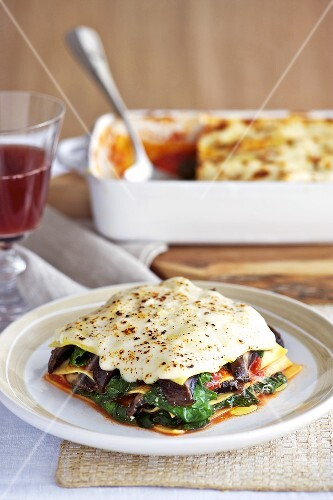 Mushroom and spinach lasagne with mozzarella