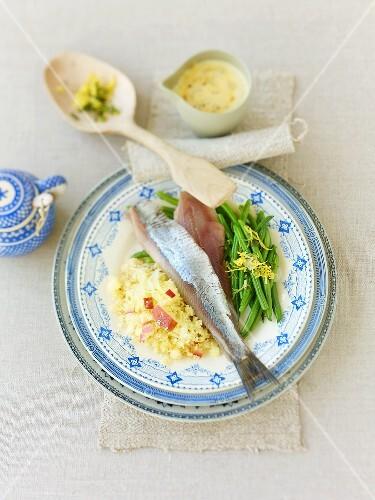 Matjes herring fillets with apple couscous