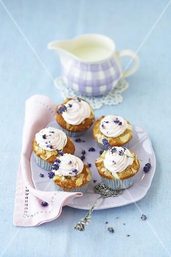 Apple cupcakes with lavender cream