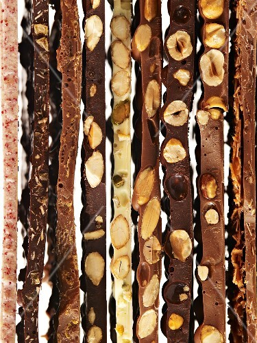 Various types of chocolate bars
