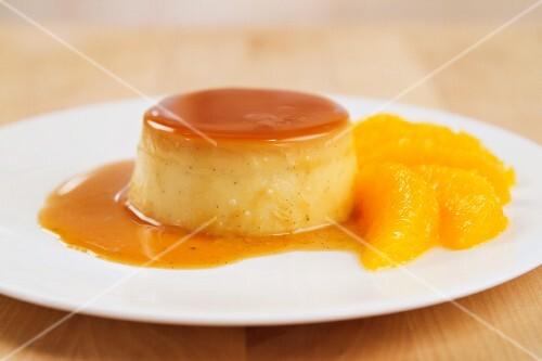 Crème caramel garnished with orange fillets