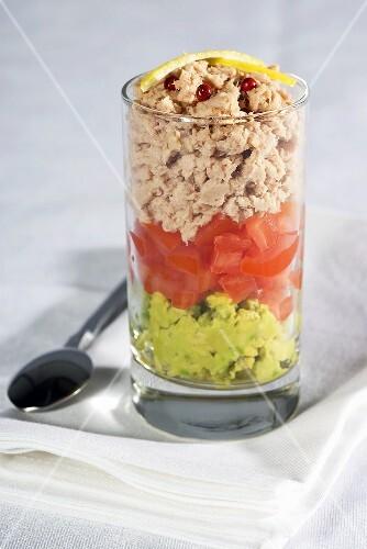 Tuna, tomato and avocado verrine