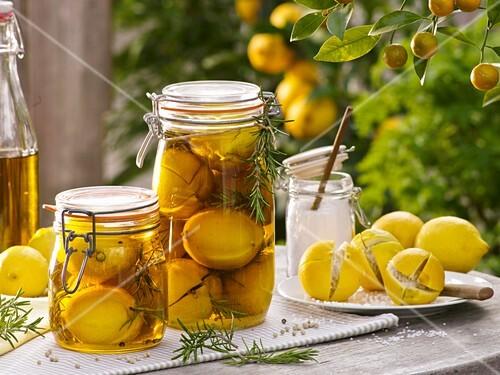 Pickled lemons with rosemary
