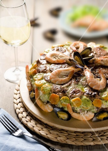 Cappon magro (Seafood and vegetable timbale, Italy)