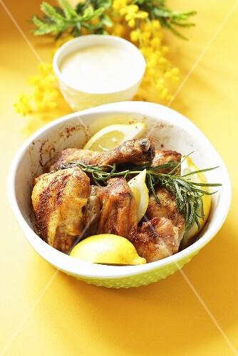 Chicken wings in lemon sauce for Easter