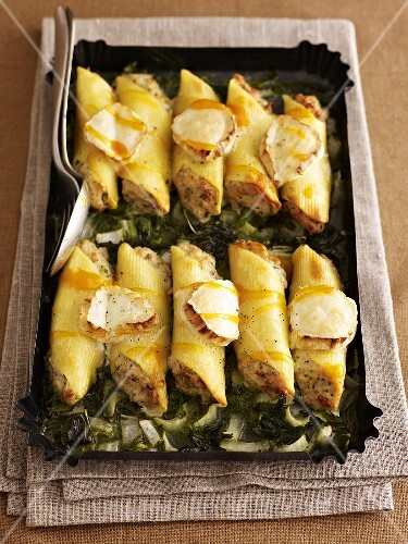 Cannelloni on a bed of kale