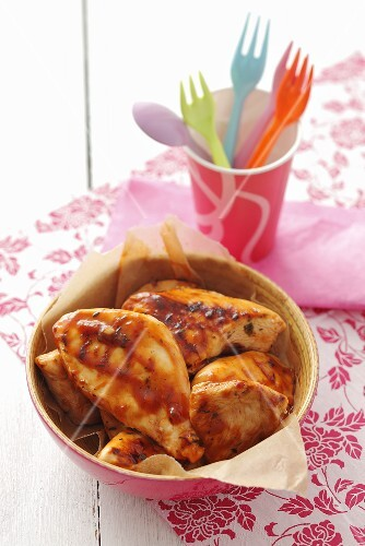 Barbecued chicken fillet with marinade