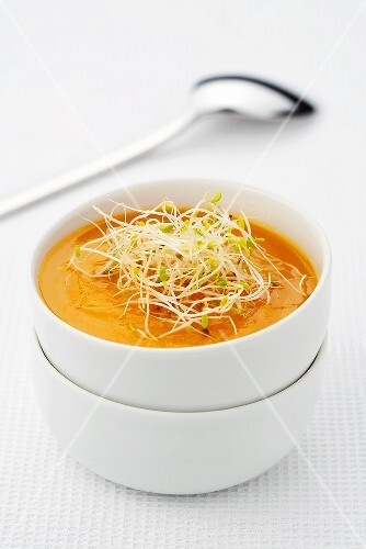 Carrot soup with sprouts