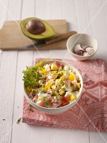 Rice salad with avocado