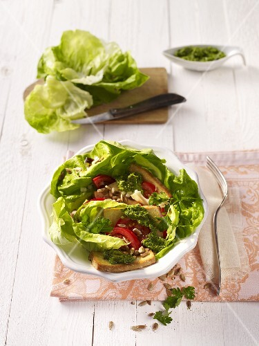 Lettuce with fried tofu and salsa verde